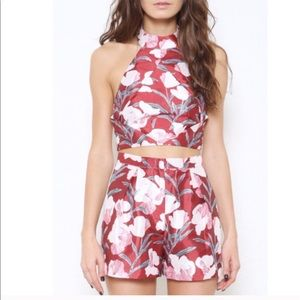 L'atiste Tops - ✨ Burgundy Floral Two-Piece Set