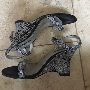 Unlisted Shoes - Embroidered silver & black wedge heel