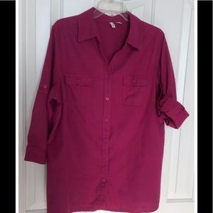 BLOUSE IN MAGENTA PINK 100% COTTON