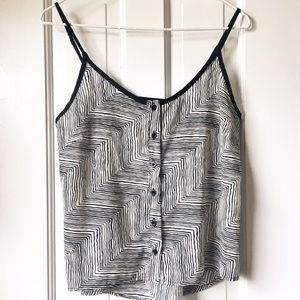 Bar III black and white button up tank top