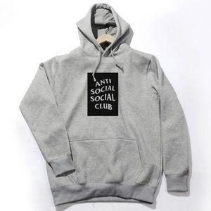 Anti Social Social Club Sweaters - Gray hoodie with black logo. Custom made