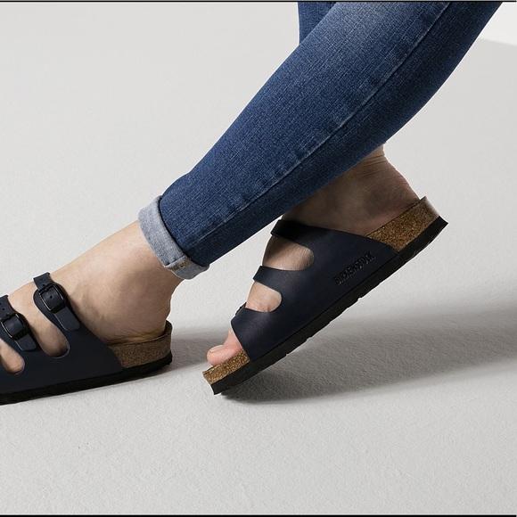 Birkenstock Florida Navy Blue Three Straps Sandals