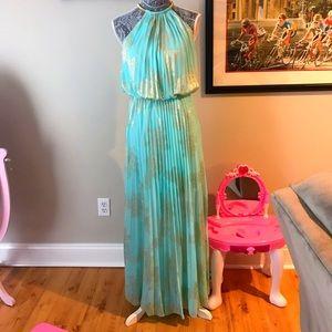 MSK Dresses & Skirts - 💎 Aqua & Gold maxi pleated dress