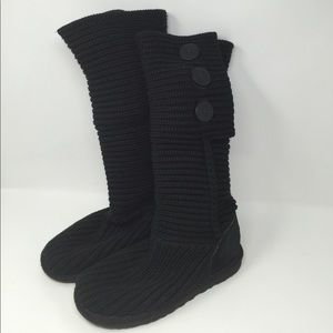 UGG Black Carly Sweater Boots Size 6