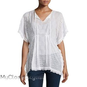 Johnny Was Tops - Johnny Was NWT$300 White Eyelet Poncho Top M/L NEW
