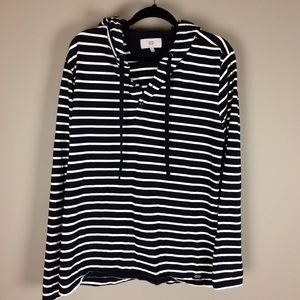Jack Spade navy and white hooded pullover