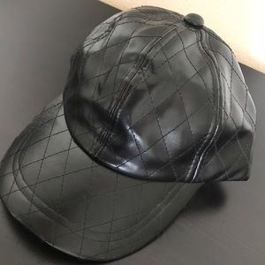 Accessories - NWOT Black leather looking hat