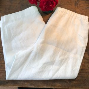Appleseed's Pants - Appleseed's Petites White Linen Cropped Pants 12P