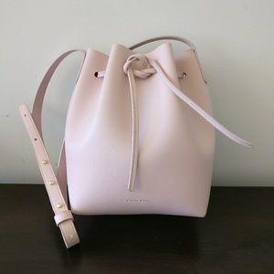 Mansur rosa pink bucket shoulder crossbody bag
