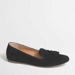 J. Crew Cora Suede Tassel Black Loafers