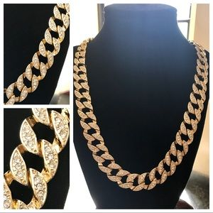 Other - 14K Gold Plated Iced Out Cuban Necklace