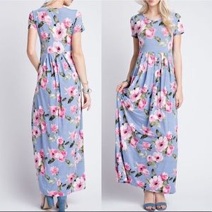 Pink Peplum Boutique Dresses & Skirts - 🆕 MADE IN USA Floral maxi dress w pleats & pocket
