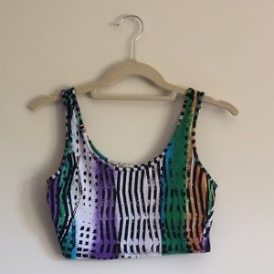 Lily White Tops - Lily White Festival Striped and Colored Crop Top