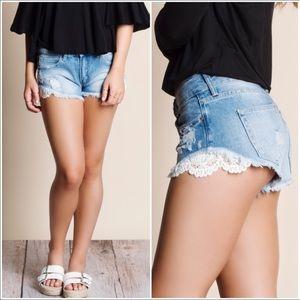 Aluna Levi Denim - 🔥Just in🔥 Crochet Accent Cut Off Denim Shorts.