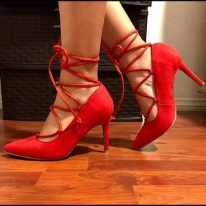 Shoes - Red Strappy heels