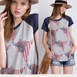 Pink Peplum Boutique Tops - 🆕 4th July patriotic flag floral bull skull top