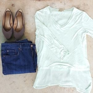Democracy for Nordstrom mint green layered blouse