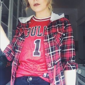 1955 Vintage Tops - Red 90s flannel