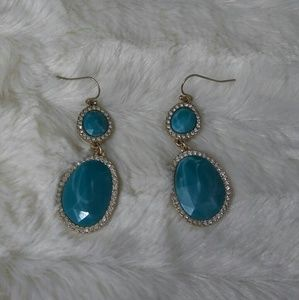 Turquoise and Crystal Dangle Drop Earrings