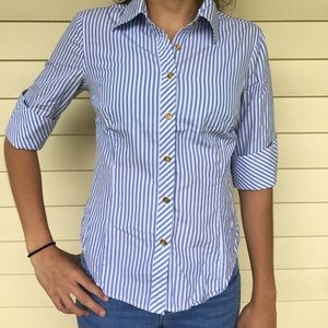 Lilly Pulitzer blue&white striped 3/4 Sleeve Shirt
