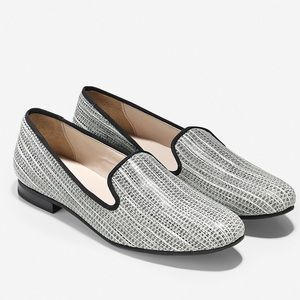 Cole Haan Sabrina Black and White Woven Loafers