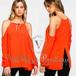 Tangerine Cold Shoulder Blouse Top