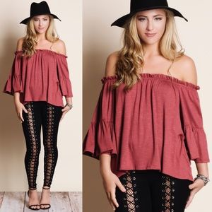 MAYELA off shoulder top - BRICK