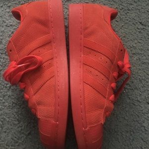 adidas Shoes - Adidas Red Suede Superstar sneakers men's 7/wmns 9