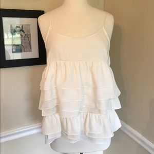 Who What Wear Tops - Who What Wear Off White layered, ruffle tank