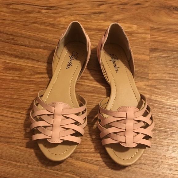 Woven Peep Toe Flat Sandal Blush