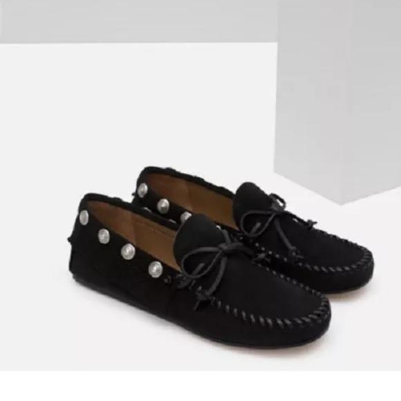 1156a777af6 Zara black studded suede leather moccasins flats. NWT