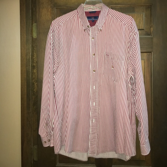 Woods woods woods woods red and white striped button for Red and white striped button down shirt
