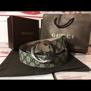 Gucci Other - 💕 Authentic Men Gucci Belt Blue Trim Monogram