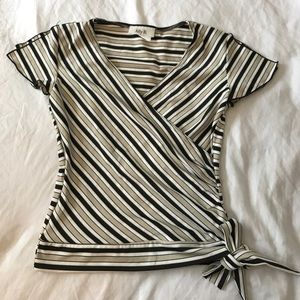 Ally B Tops - Striped blouse with tie on side