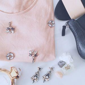 LOFT embellished pink top