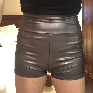American Apparel shorts high waisted tight silver
