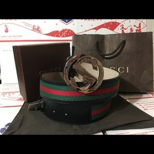 Gucci Other - 💕 Authentic Men Gucci Belt Black Trim Green Red