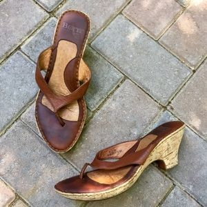 Born Shoes - Born brown leather and cork wedge sandal
