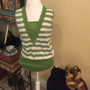 Tops - Green and White sparkle stripe top
