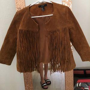 Tan suede fringe jacket