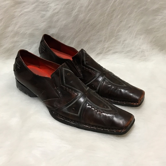 4ad5a725d10 Robert Wayne Cross Leather Square Toe Loafers 10. M 5935ed7dc284566f6600c144