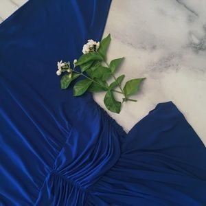 Dresses & Skirts - Couture Vintage Ruched Colbolt Blue Dress