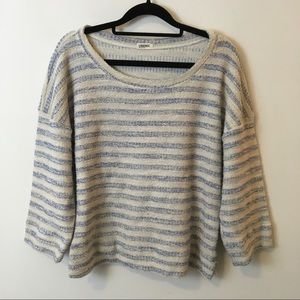 L'AGENCE Sweaters - L'AGENCE Blue Cream Striped Knit Sweater Shirt