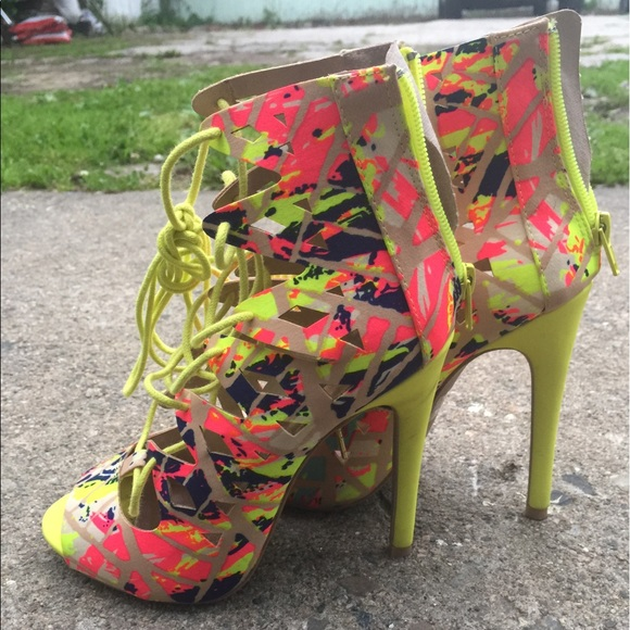 Shoes - Multi-Colored Lace Up Heels