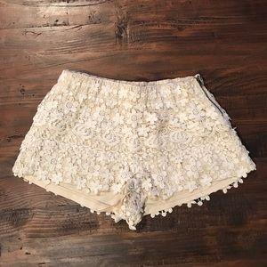 Zara cream crochet lace shorts