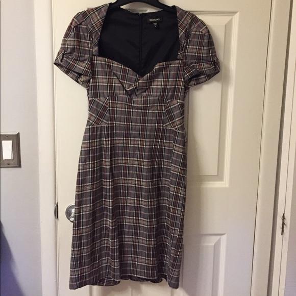 61 off bebe dresses skirts bebe plaid dress with flirty back bustle from melissa 39 s closet. Black Bedroom Furniture Sets. Home Design Ideas