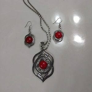 Jewelry - Silver and red necklace and earring set nwot