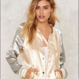 Nasty Gal Jackets & Blazers - 🆕 Nasty Gal Gold & Silver bomber jacket L