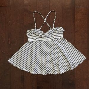 Striped Flare Spaghetti Strap Tank Top
