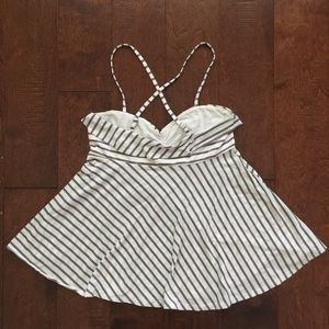 Poof! Tops - Striped Flare Spaghetti Strap Tank Top